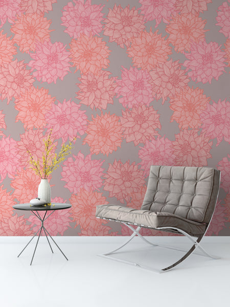Dahlia Belle Bright Wallpaper - WYNIL by NumerArt Wallpaper and Art