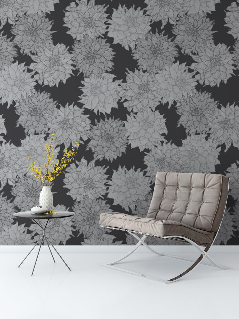 Dahlia Belle Monochrome Wallpaper - WYNIL by NumerArt Wallpaper and Art