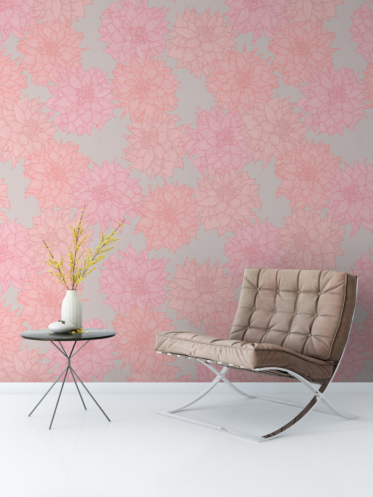 Dahlia Belle Soft Wallpaper - WYNIL by NumerArt Wallpaper and Art