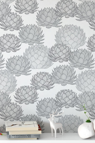 Parry's Agave Monochrome Wallpaper - WYNIL by NumerArt Wallpaper and Art