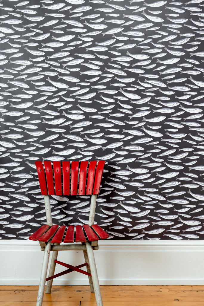 Sardines Charcoal Wallpaper