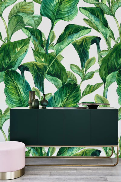 Banana Leaves White Wallpaper