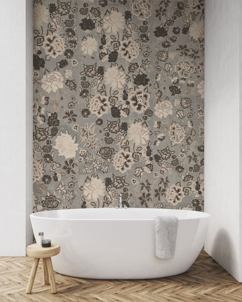 Frida Flowers Grey Wallpaper - WYNIL by NumerArt Wallpaper and Art