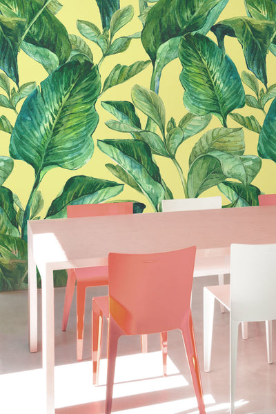 Banana Leaves Yellow Wallpaper