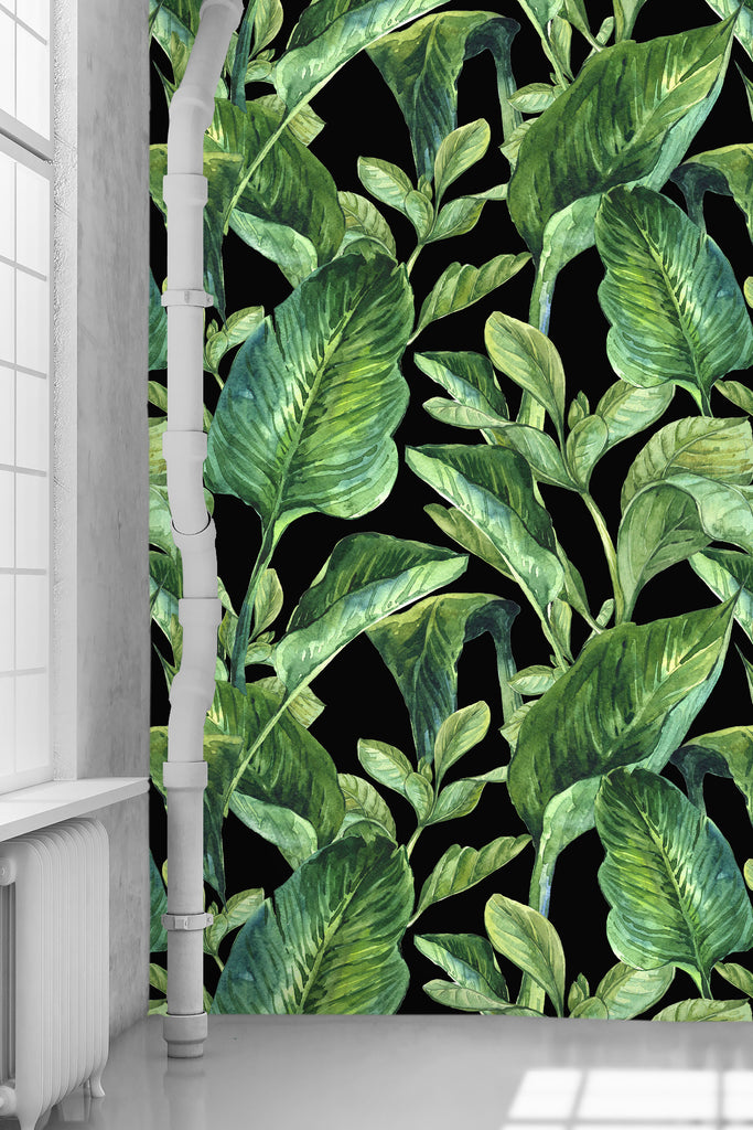 Banana Leaves Black Wallpaper - WYNIL by NumerArt Wallpaper and Art