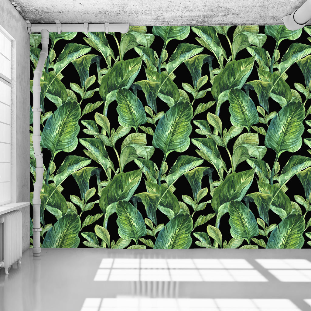 Banana Leaves Black Wallpaper