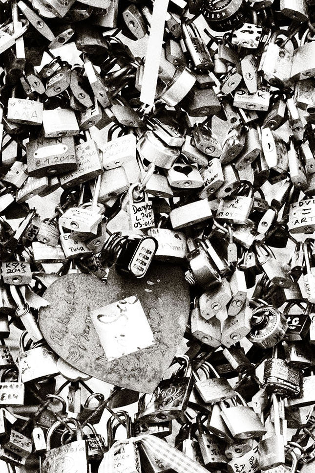 The Love Paris Padlocks Grey Mural