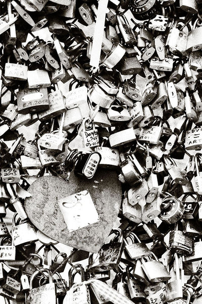 The Love Paris Padlocks Grey Mural - WYNIL by NumerArt Wallpaper and Art