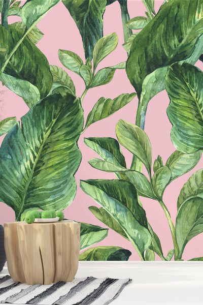 Banana Leaves Pink Wallpaper