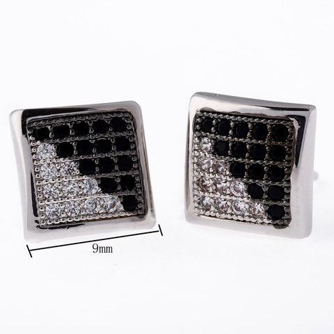 Kite Screw Backs, Iced Out Square Stud Earring