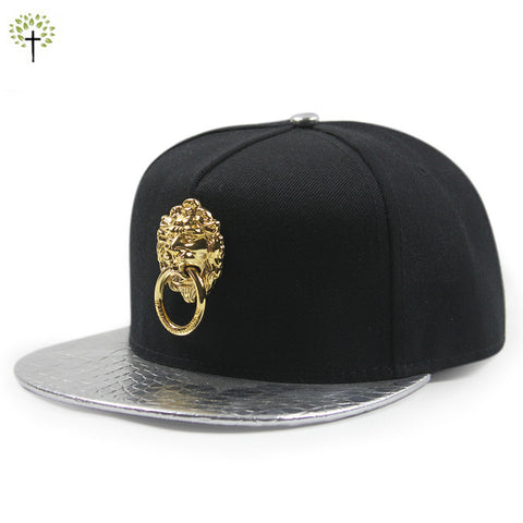 Ancient lion head with buckle, snakeskin brim snapback baseball cap