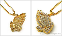 18k gold plated Iced Out Praying Hands Pendant and chain