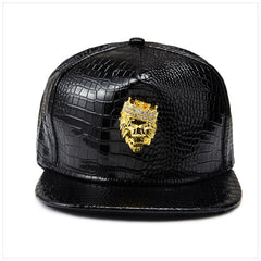 Leather Snapback Baseball Cap with Beautiful Crest