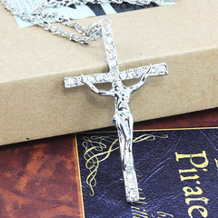 Big Gold Chain for Men. Long Jesus cross necklace