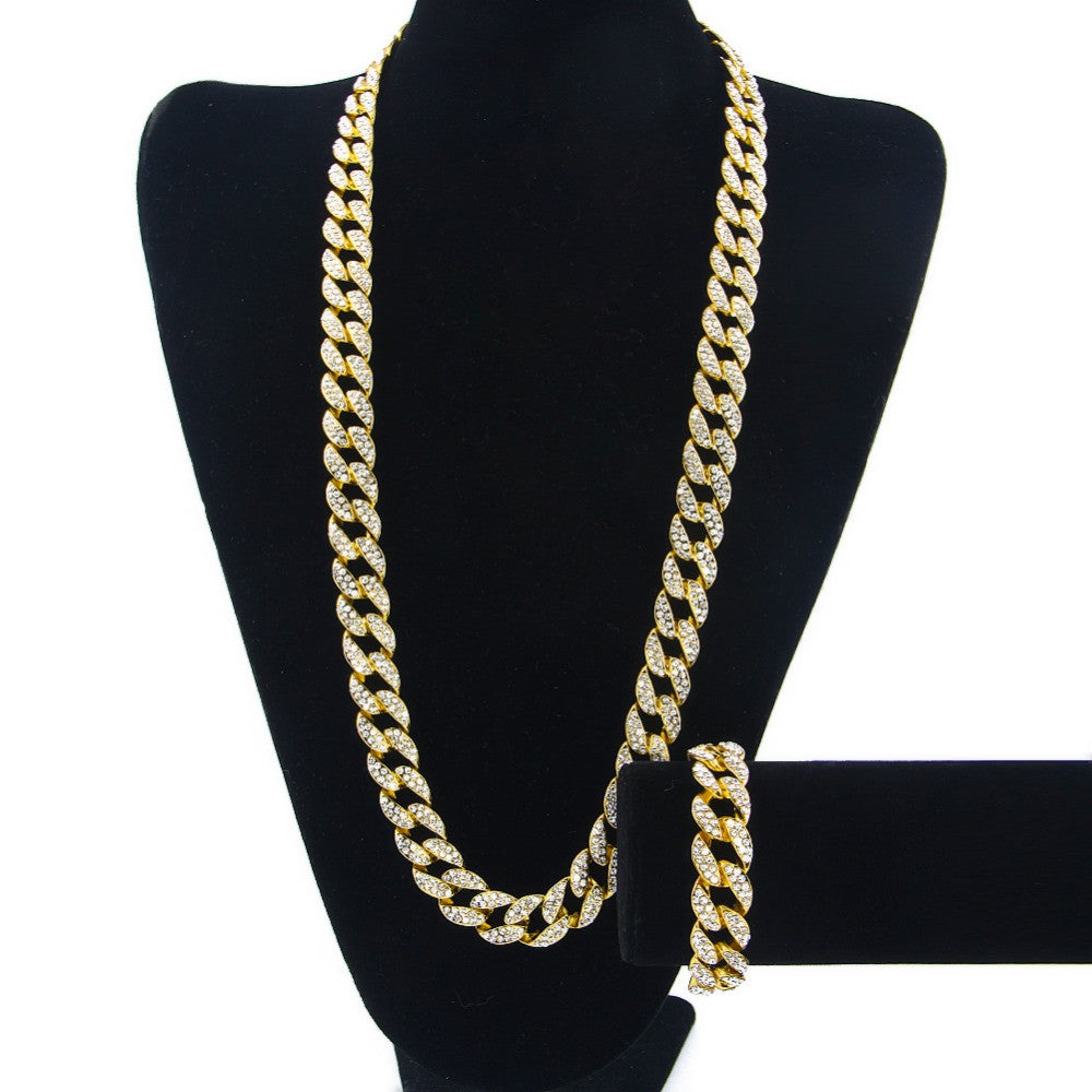 "30"" Iced Out Gold Plated Chain and 8.5"" Gold Plated Bracelet - A Dope Set"