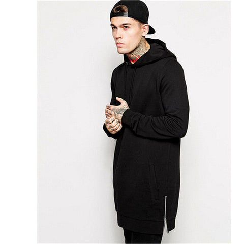 Men's Long Black Hoodie with Side-Zipper