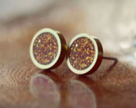 Round Inlay Glitter Earrings