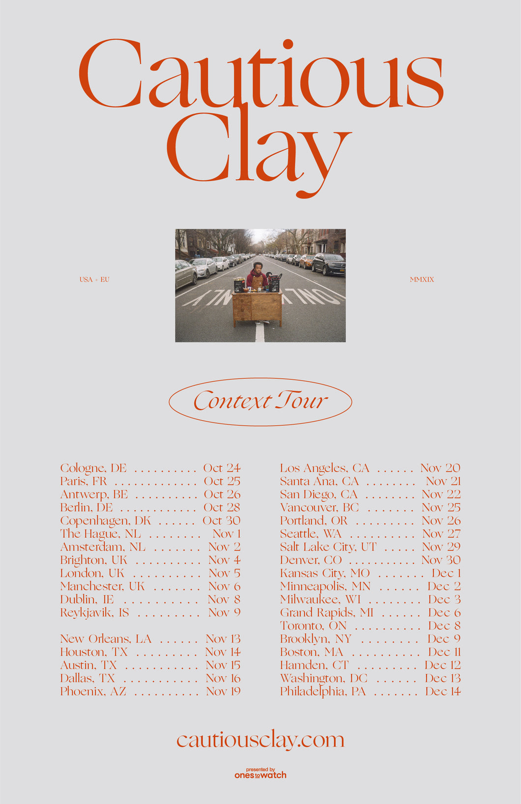 12/14/19 - Philadelphia, PA - Union Transfer - Cautious Clay Meet & Greet Upgrade Package