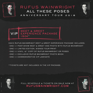 18/04/19 - Stockholm, SE - Concert House - Rufus Wainwright Ticketless Meet & Greet Upgrade Package