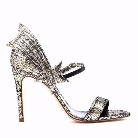 Rupert Sanderson Starfire High Sandal in Platinum Tweed Laminate