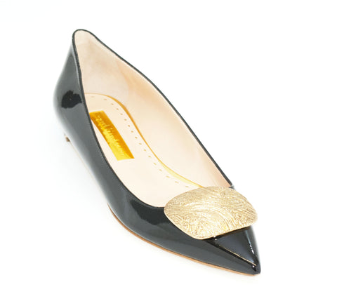 Rupert Sanderson - Annie Pebble Black Patent Low Heel with Gold Pebble