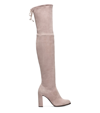 Stuart Weitzman Hiline Over-the-knee stretch heeled Boots in Topo Beige