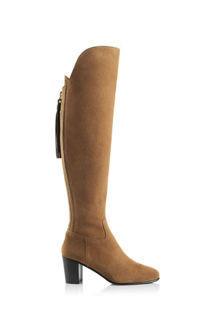 Fairfax & Favor Amira Above The Knee Suede Boot in Tan