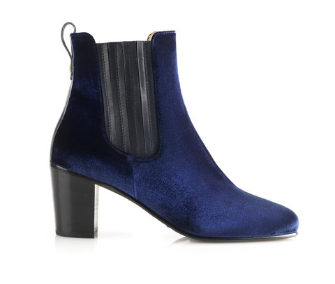 Fairfax & Favor Electra Velvet Ankle Boot In Royal Blue