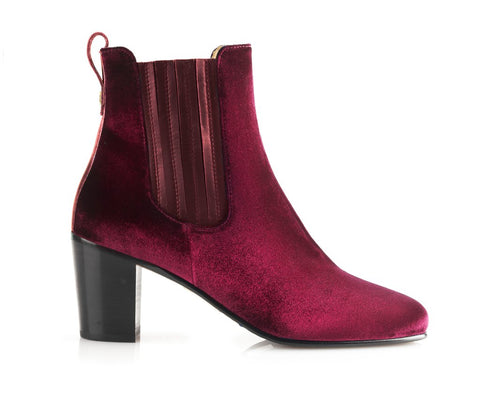 Fairfax & Favor Electra Velvet Ankle Boot In Burgundy