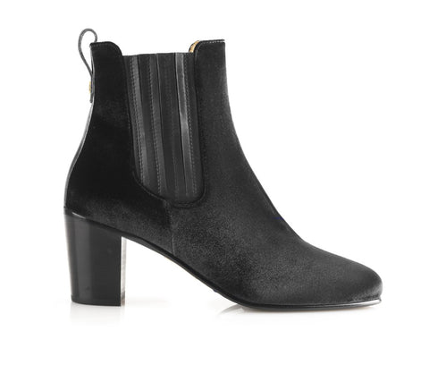 Fairfax & Favor Electra Velvet Ankle Boot In Black