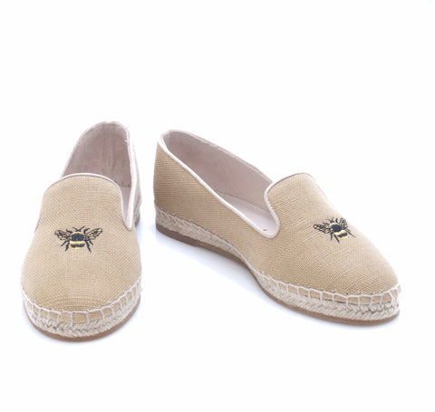 French Sole Espadrille In Natural Hessian With Embroidered Bee Motif