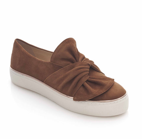 Stuart Weitzman Twisteze Tan Suede Loafer
