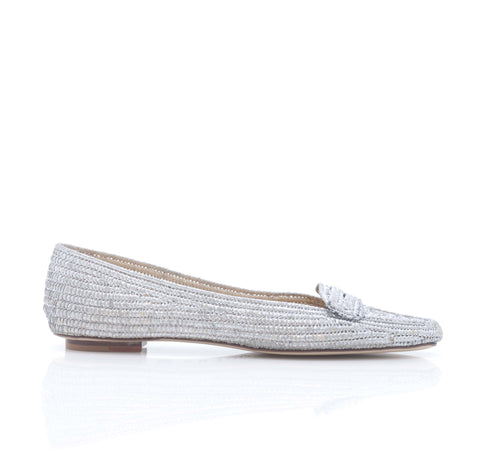 Emma Hope Flat Loafer in Silver Rafia