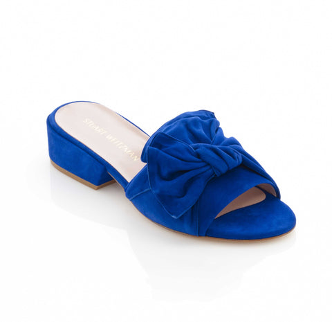 Stuart Weitzman Giftwrap Mule in Electric Blue Suede