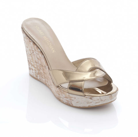 Stuart Weitzman Overit  Wedge Mule  in Gilt Specchio Gold