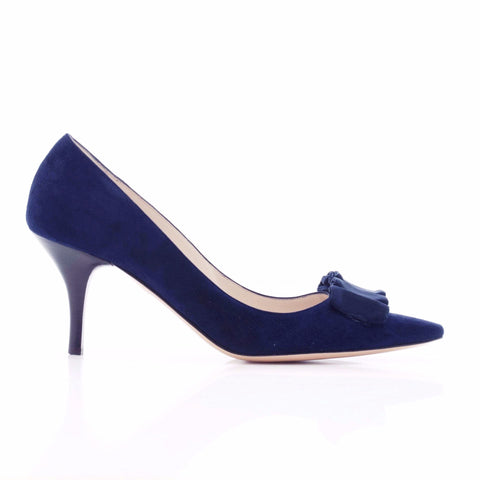 Emma Hope Suede Court with Ruffle Bow in Navy