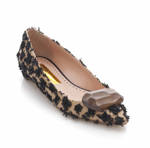 Rupert Sanderson Bedfa Black Raffia Low Court