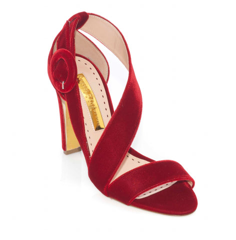 Rupert Sanderson Sweetedge in Red (Sangria) Velvet Strappy Sandal