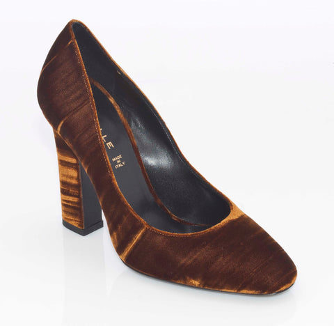 Deimille Velvet Block Heel Court in Gold