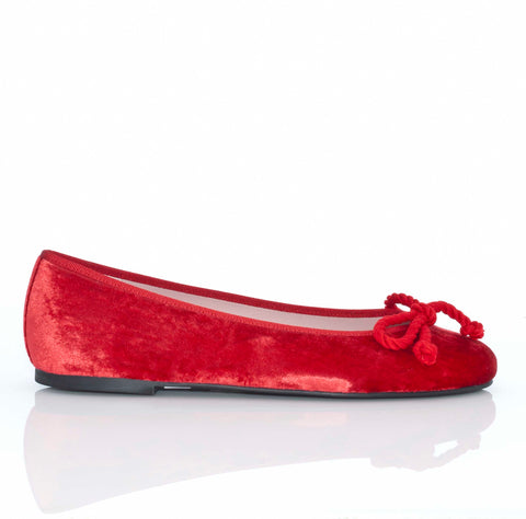 Pretty Ballerinas Red Velvet Ballet Flats