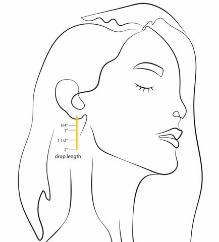 earring size guide by olmox jewelry