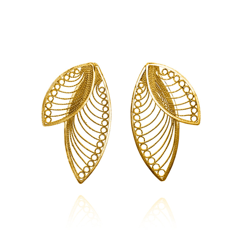 LAUREN MEDIUM EARRINGS  FILIGREE SILVER GOLD - Olmox
