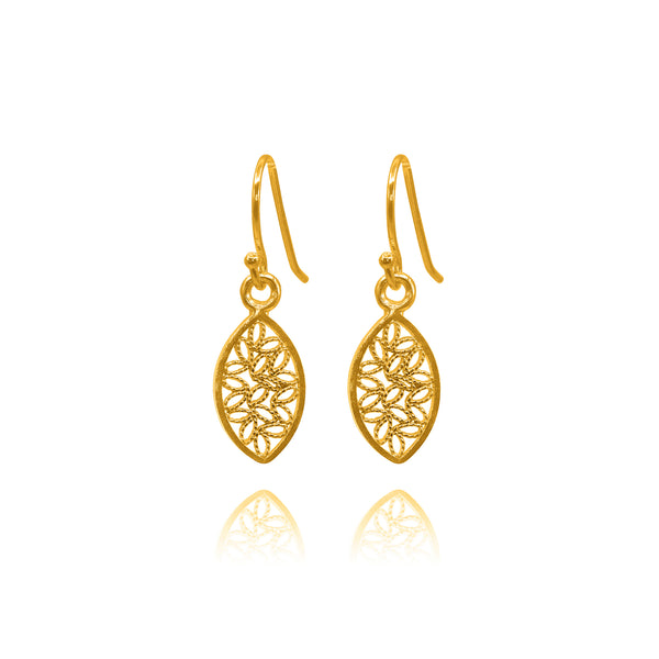 JOSEPHINE SMALL EARRINGS FILIGREE SOLID GOLD 18K - Olmox