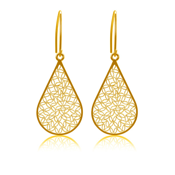 FLORA MEDIUM EARRINGS FILIGREE SILVER GOLD - Olmox