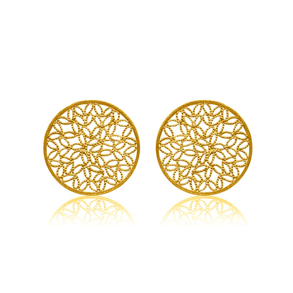 KRIN STUD EARRINGS FILIGREE SOLID GOLD 18K - Olmox