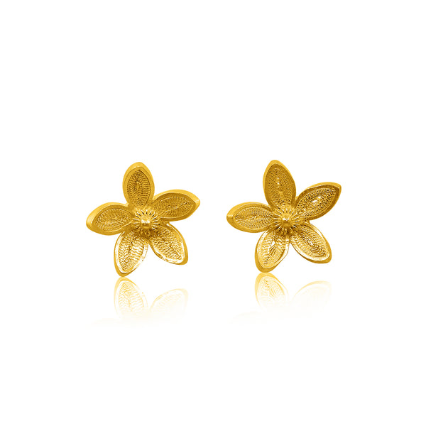 BLOSSOM STUD EARRINGS FILIGREE SOLID GOLD 18K - Olmox