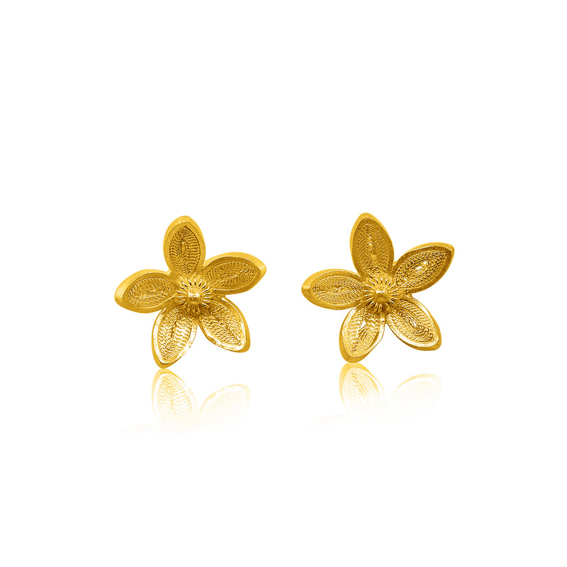 BLOSSOM STUD EARRINGS GOLD - Olmox