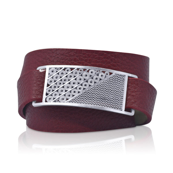 NINFA LEATHER BRACELET SILVER - Olmox