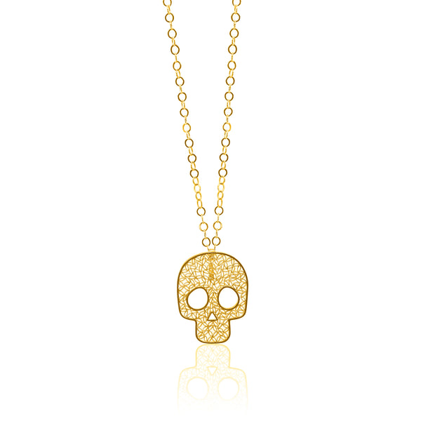 SUGAR SKULL LARGE PENDANT NECKLACE FILIGREE SILVER & GOLD - Olmox