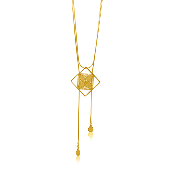 VANESSA LONG NECKLACE FILIGREE SILVER & GOLD - Olmox